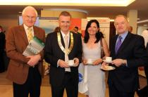 Dr Ken Egan, Dr Ronan Boland, Mrs Lisa Boland and Dr Fenton Howell attend the exhibition at the AGM